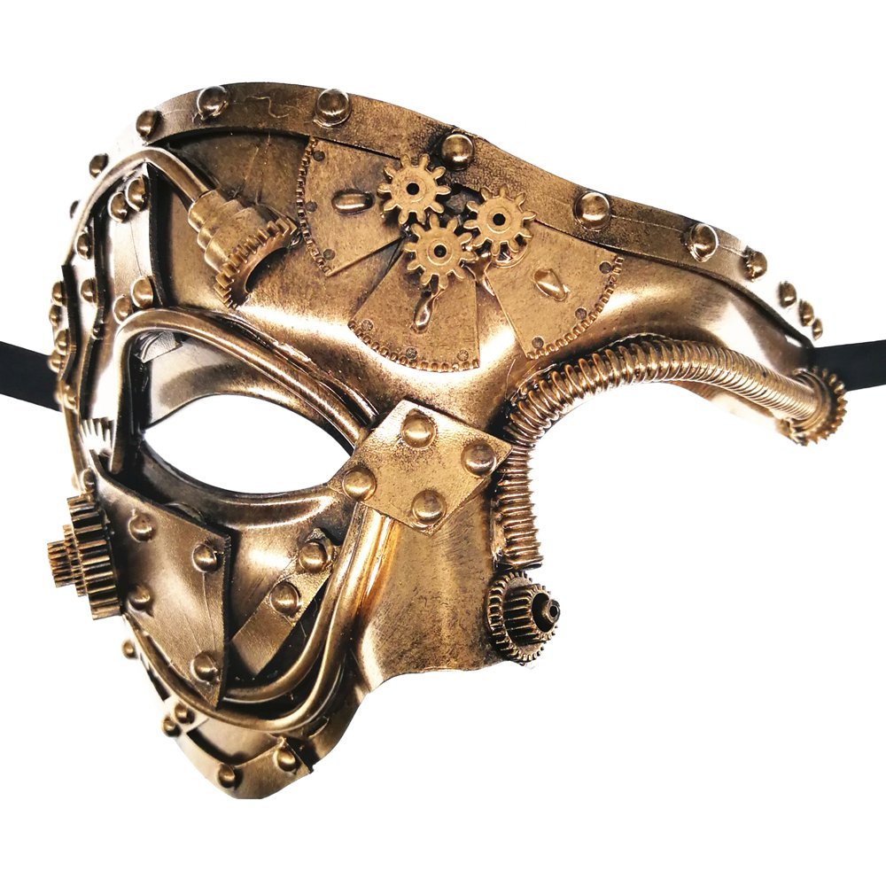 CCUFO Steam Punk Phantom of The Opera Vintage Gold Mechanical Men Venetian Mask for Masquerade/Party/Ball Prom/Mardi Gras/Wedding/Wall Decoration…