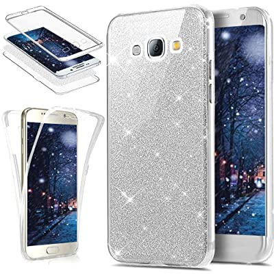Coque Galaxy J3, Coque Galaxy J3 2016 360 Degres Silicone, SainCat Ultra Slim Silicone Case Cover pour Samsung Galaxy J3/J3 2016, Bling Glitter Full Protection 360 Ultra Slim Transparente Antichoc Soft Gel TPU Cover Crystal C