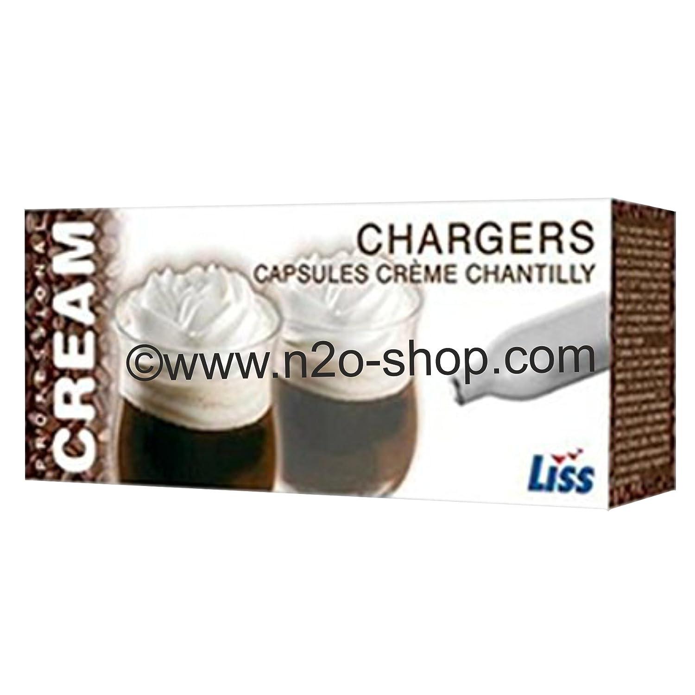 Cápsulas de óxido nitroso para dispensador de nata montada, 50 unidades de 8 g, compatible con dispensadores iSi, Kayser, Ico, Mastrad, BestWhip, ...