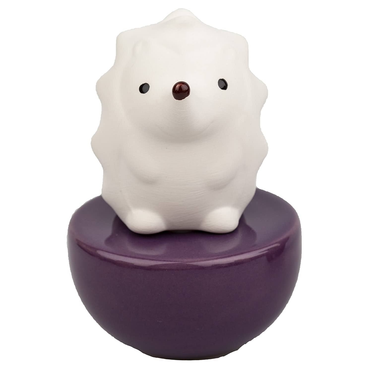 Lively Breeze Spiky Hedgehog, Non-Electric Ceramic Diffusers for Essential Oils and Aromatherapy Fragrance, White Ceramic Diffusers in Car or Desk Office Decor and Small Bathroom at Home, Purple Vase