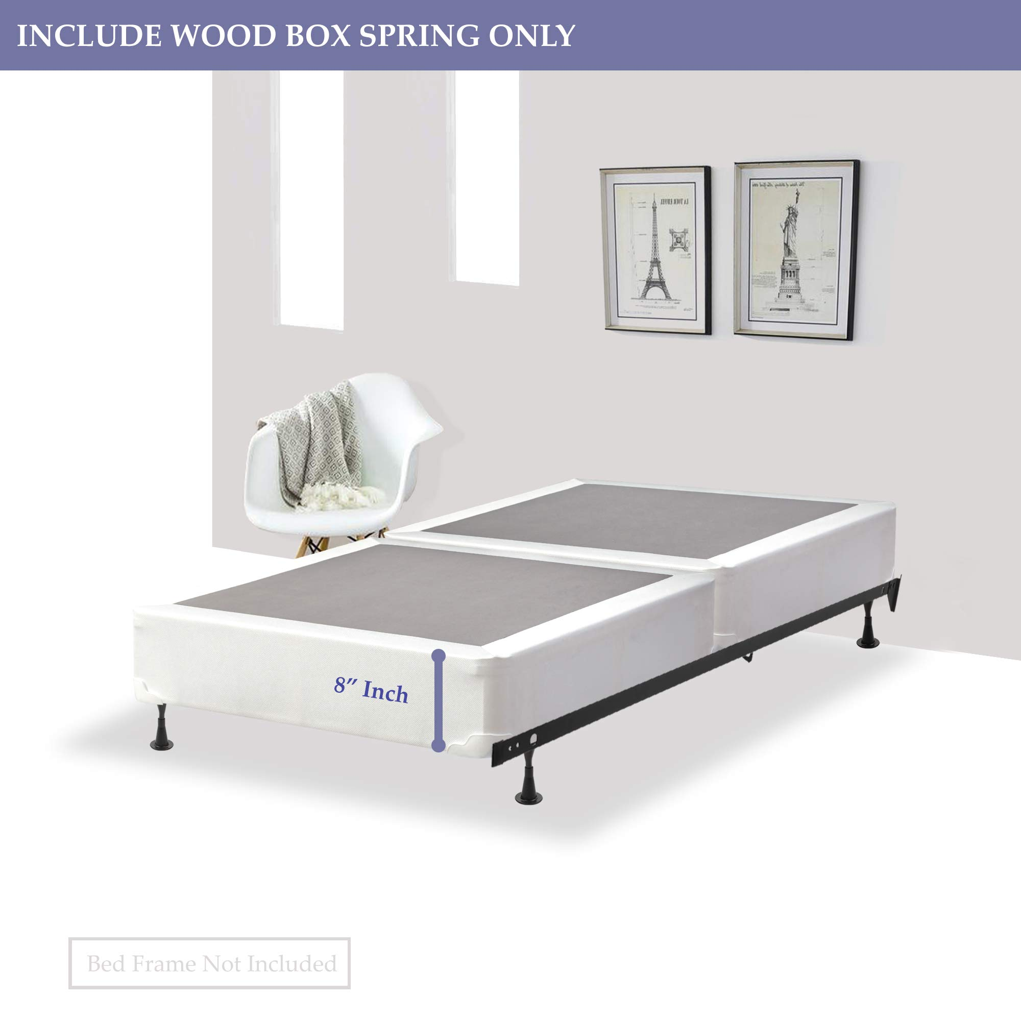 GREATON 680v-3/3-3s Split Fully Box Spring/Foudation for Mattress Assembled, Twin, 39x75 by GREATON