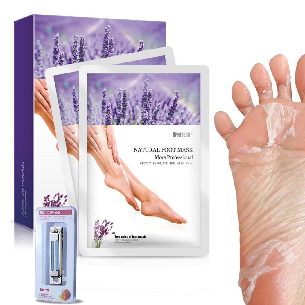 APRITECH 2 Pairs lavender Foot Mask, Exfoliating Foot Mask Remove Calluses & Dead Skin Cells,Baby Your Foot in 7 days for Mother's Day Gift (B)