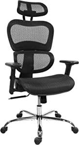 Home Office Chair Mesh Ergonomic Computer Chair with 3D Adjustable Armrests Desk Chair High Back Technical Task Chair - Black