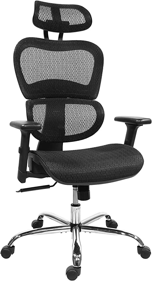 Amazon Com Home Office Chair Mesh Ergonomic Computer Chair With 3d Adjustable Armrests Desk Chair High Back Technical Task Chair Black Kitchen Dining