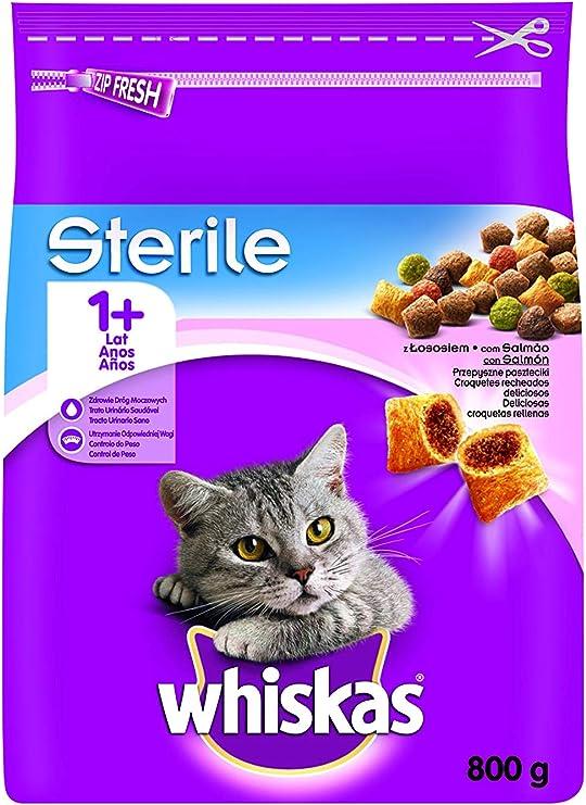 Pienso para gatos adultos esterilizados con sabor salmón de 800g: Amazon.es: Productos para mascotas