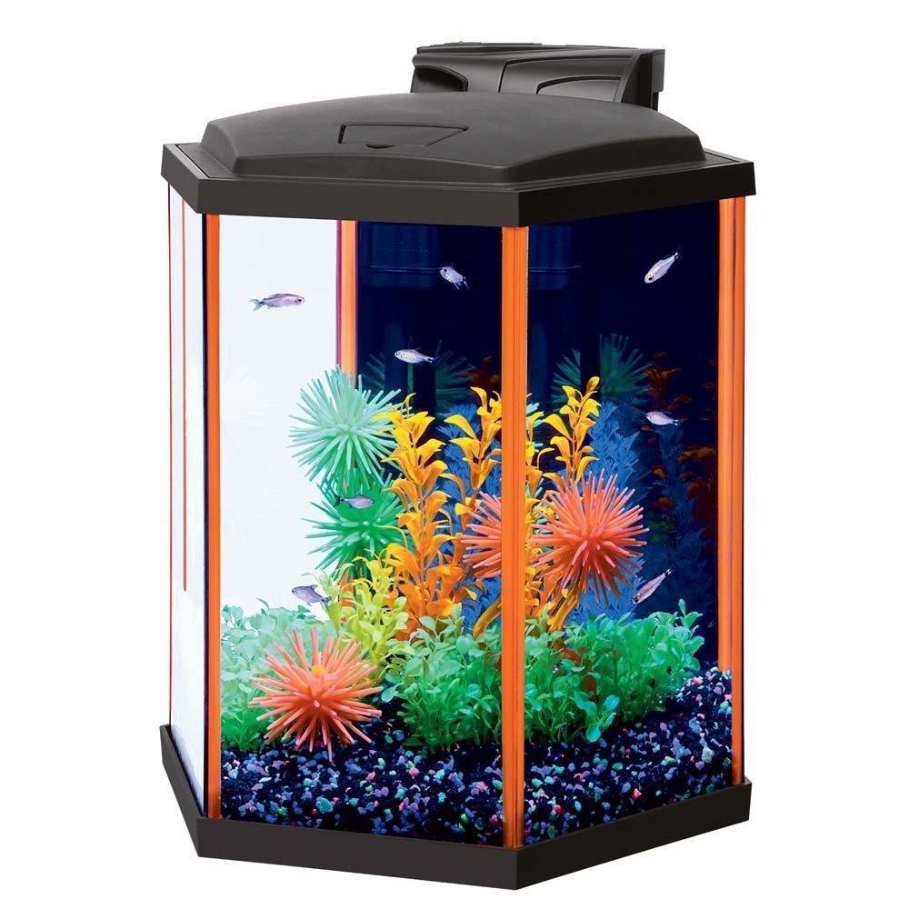 Aqueon NeoGlow LED Hexagon Orange Aquarium Kit, 8 gallon/15''L x 13.25''W x 15''H