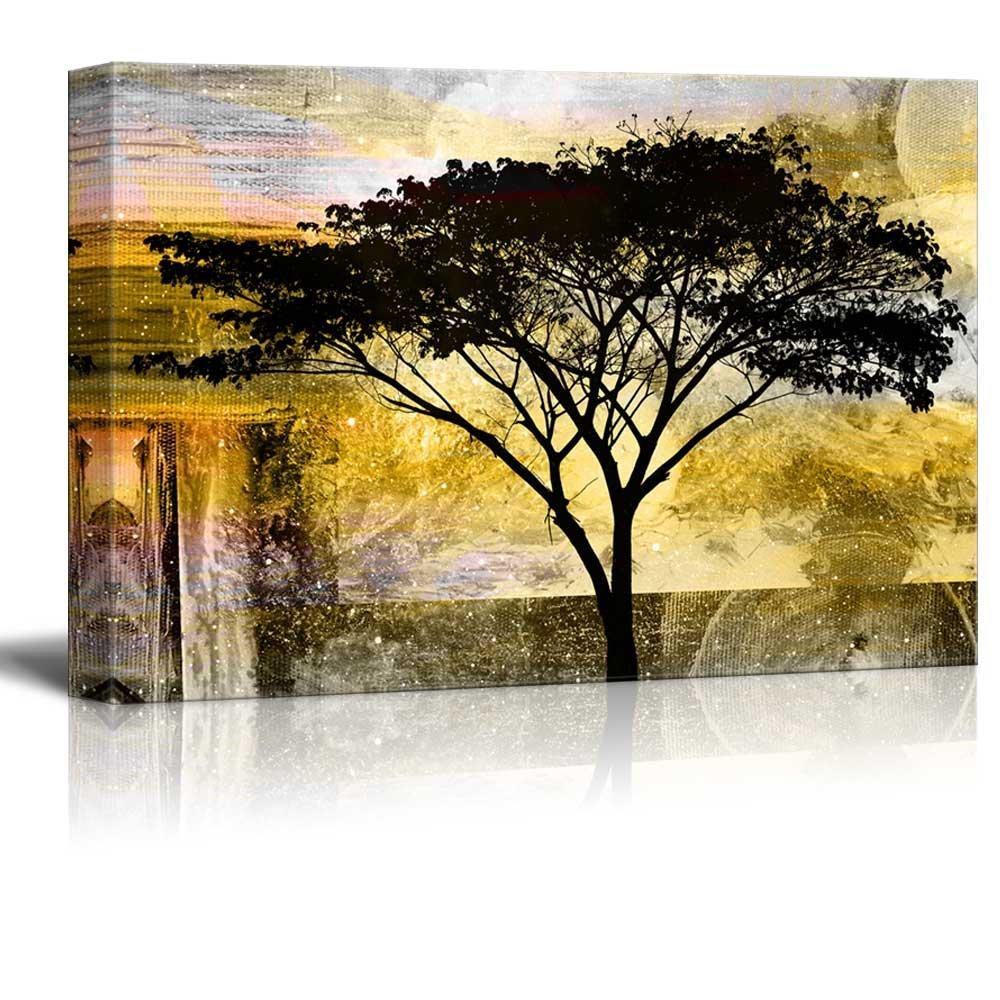 Amazon.com: wall26 - Abstract Canvas Wall Art - Black Tree on Grunge ...