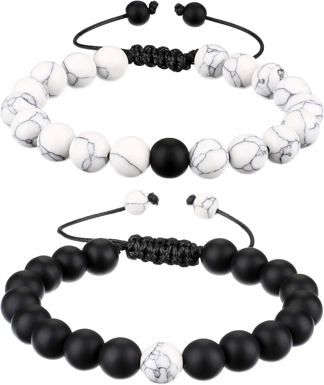 BBTO Howlite Bracelet Black Matte Agate Bracelet Couples Bracelet Distance Bracelet Energy Beads Bracelet