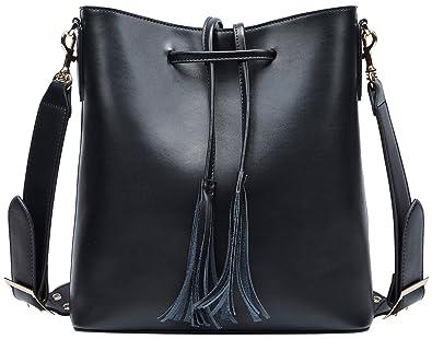 bd8878baafe28 BOYATU Leder Tote Tasche für Frauen große Kapazität Eimer Tasche  Umhängetasche (Schwarz)