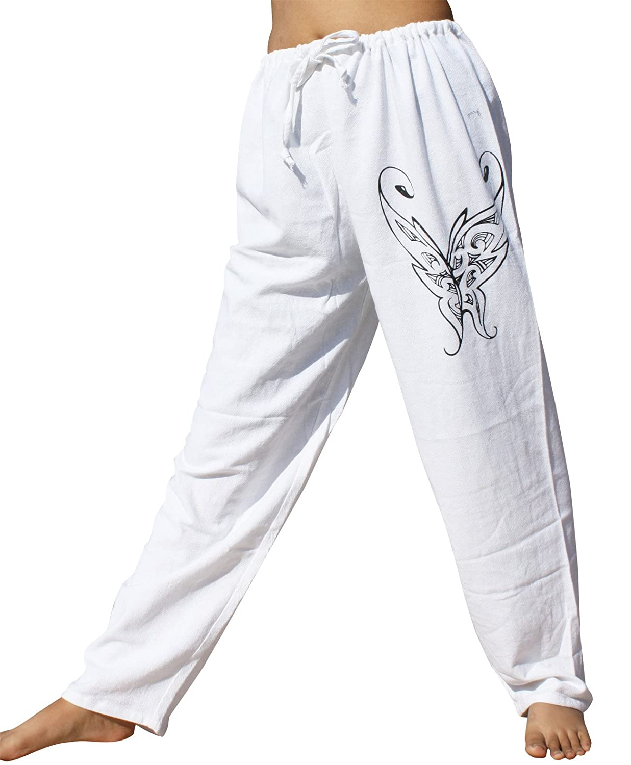 RaanPahMuang Cotton Pullstring Lounge Lizard Pants with Butterfly Hand Printing variant52350AMZ