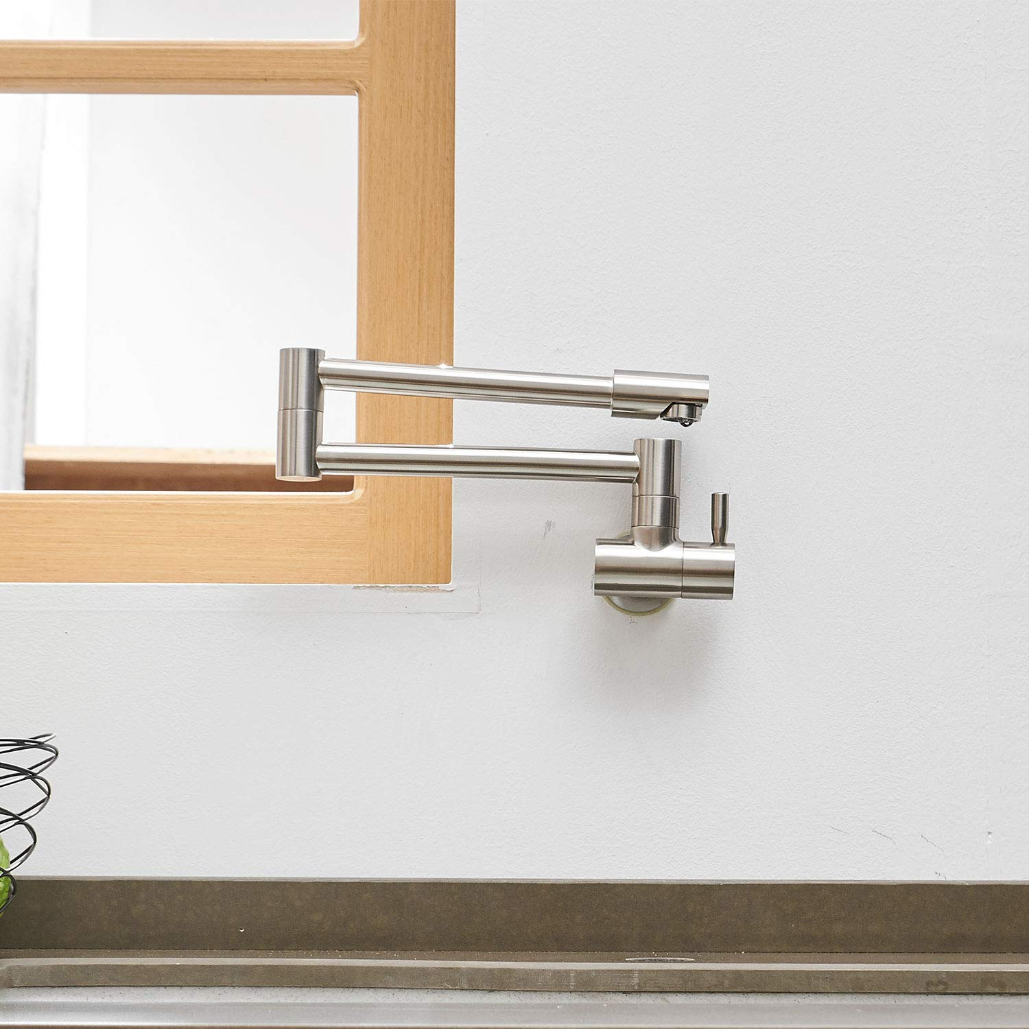 Aquafaucet Wall Mounted Pot Filler Kitchen Faucet With Double Joint Swing Arm Brushed Nickel by Aquafaucet