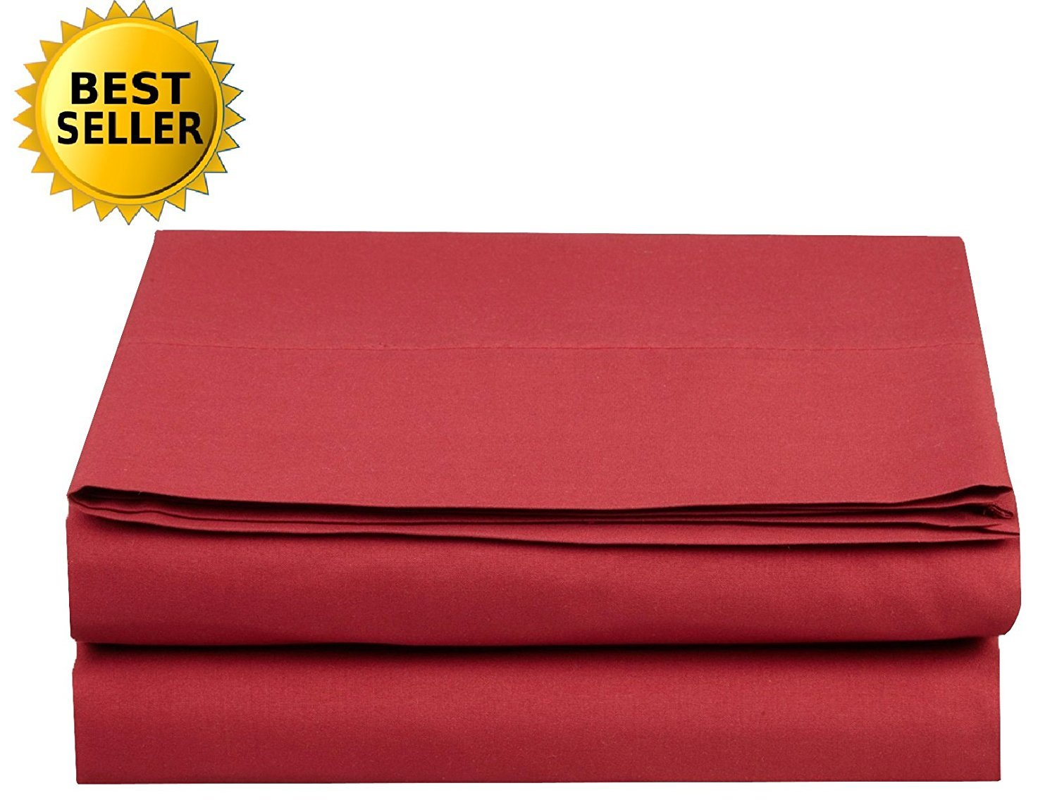 1500 Thread Count Egyptian Quality 1-Piece Flat Sheet, King Size, Burgundy