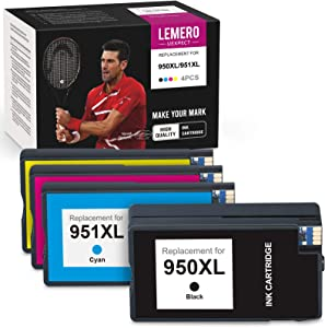 LemeroUexpect Compatible Ink Cartridge Replacement for HP 950XL 951XL 951 XL 950 XL for OfficeJet Pro 8620 8600 8100 8610 8625 8615 271dw 8660 271dw Printers (Black Cyan Magenta Yellow, 4-Pack)