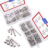 Hilitchi 420pcs M2 M3 Stainless Steel Hex Socket Head Cap Screws Nuts Assortment Kit with Box (304 Stainless Steel)