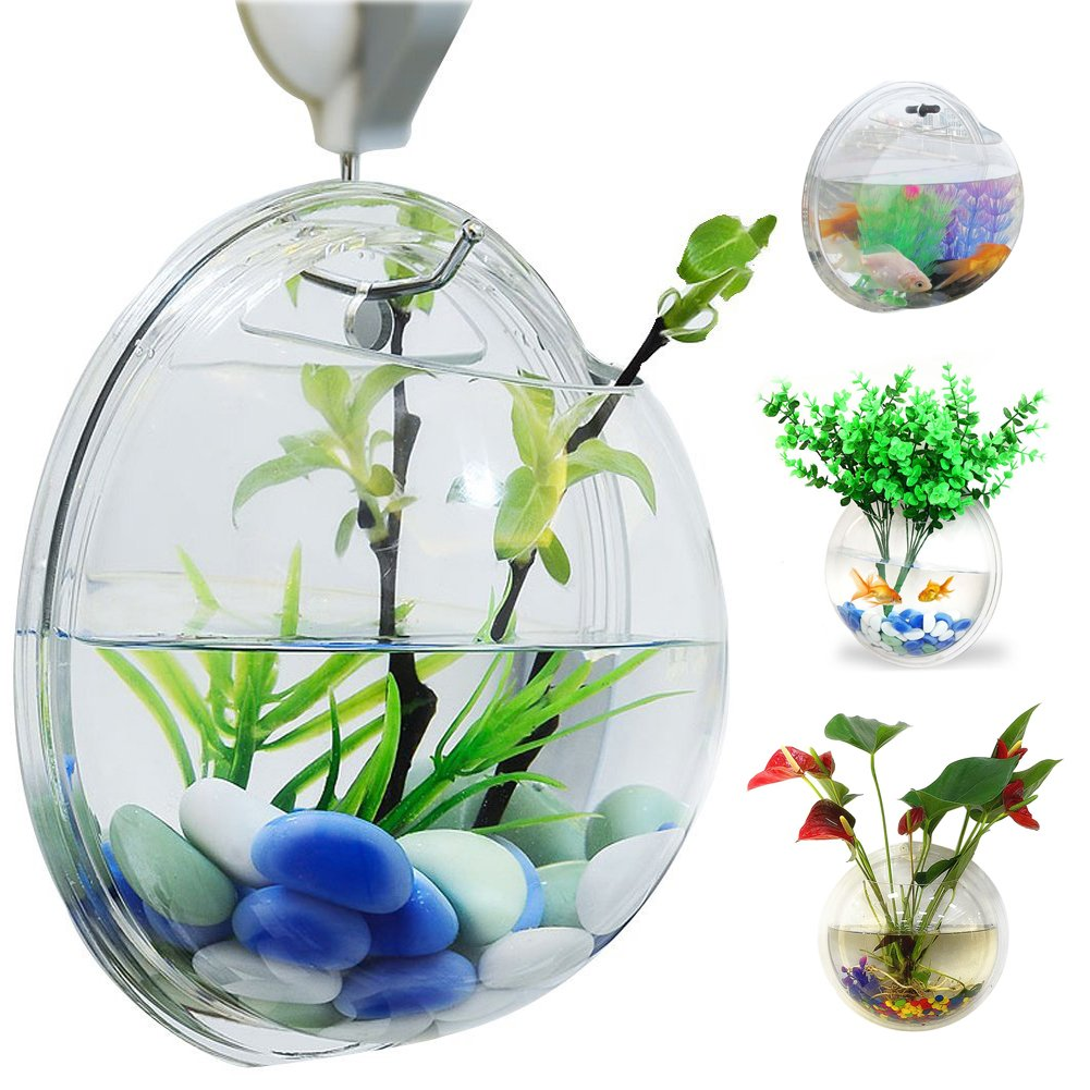 Bellagione Wall Hanging Fish Bowl Fish Tank Water Plant Vase Mini Bubble Aquarium for Home Decoration