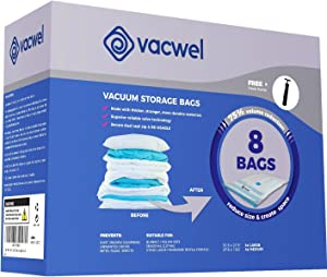 Vacwel Vacuum Storage Bags for Clothes, Ziplock Space Saver Bags (8X Small 28 x 20 Size)