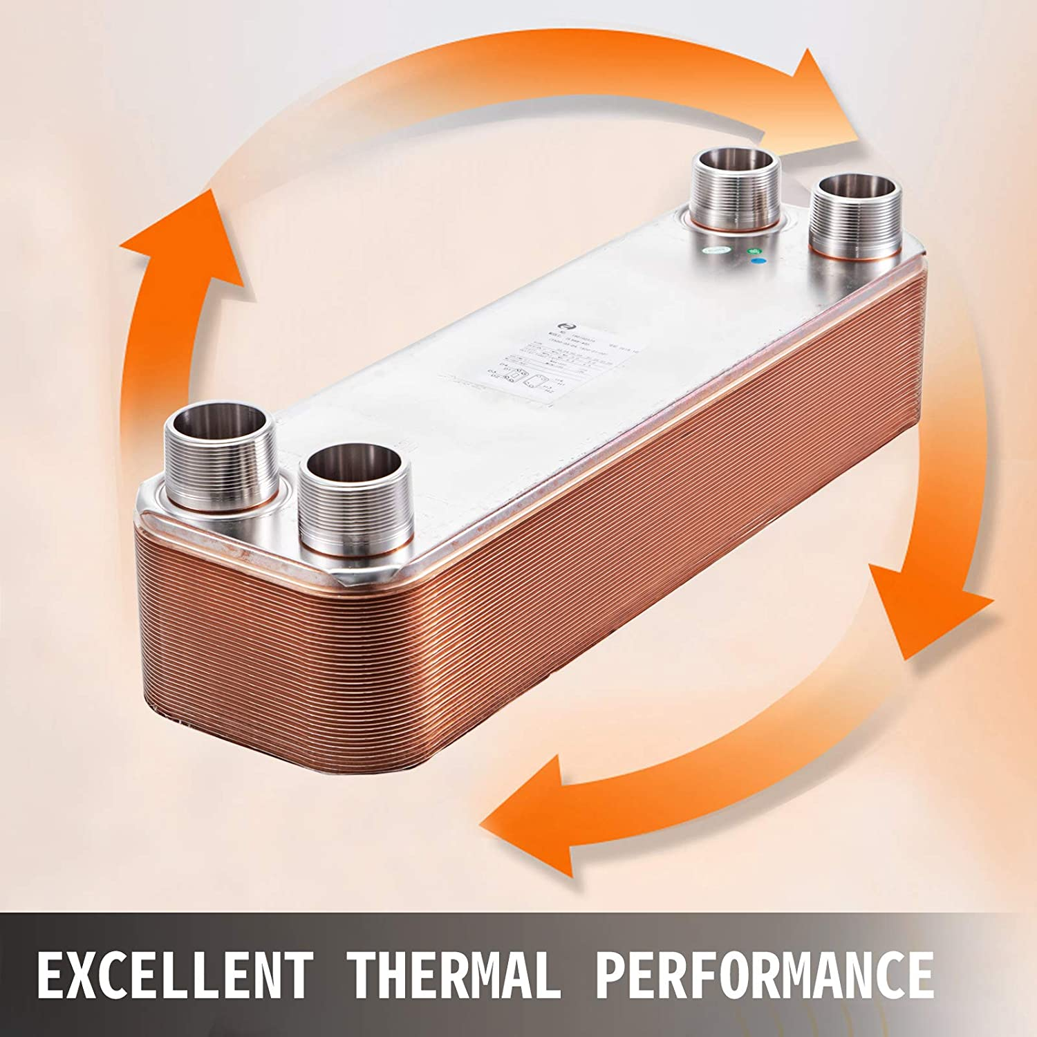 BestEquip Heat Exchanger 5x12 30 Plates Brazed Plate Heat Exchanger 316L 1 MPT Heat Exchanger Beer Wort Chiller for Hydronic Heating