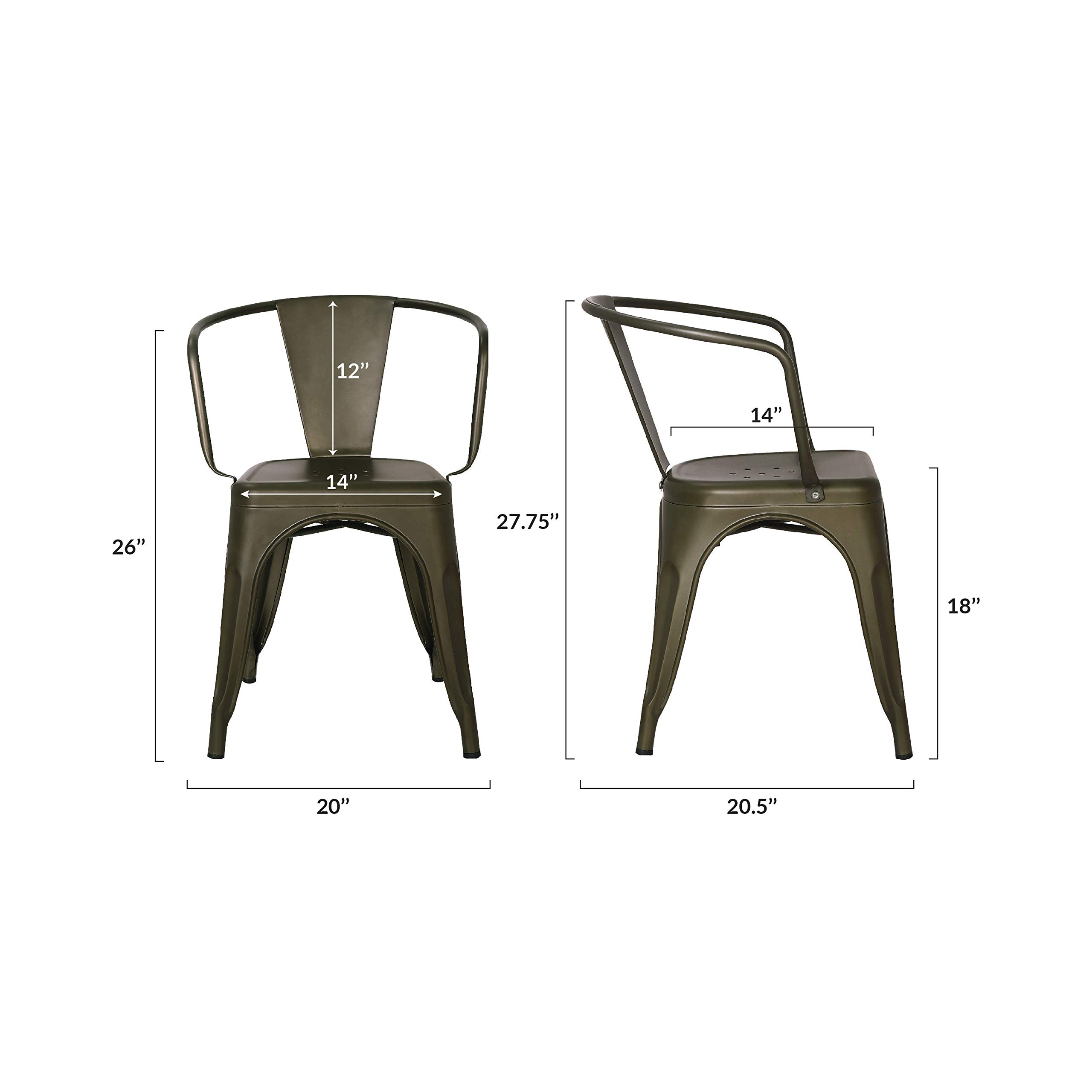 Poly and Bark Trattoria Arm Chair in Bronze (Set of 4) by POLY & BARK (Image #6)
