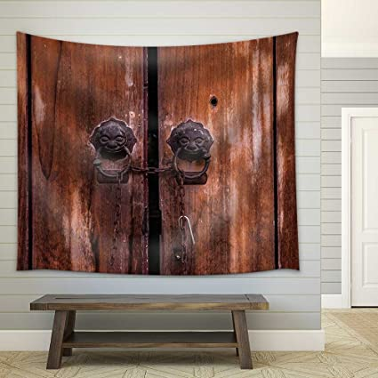 wall26 - Vintage Old Chinese Door - Fabric Wall Tapestry Home Decor - 51x60  inches