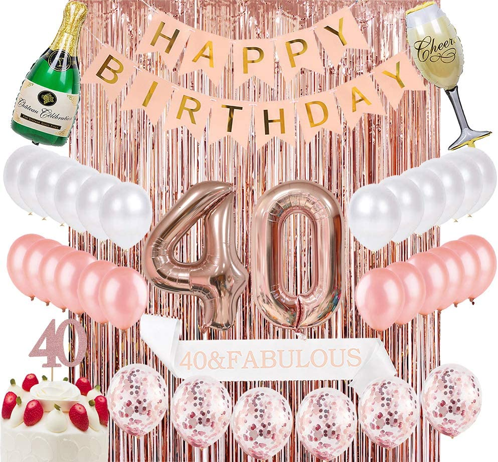 Sllyfo 40th Birthday Decorations Party Supplies Kit - 40th Birthday Gifts for Womens,40th Cake Topper Banner sash Rose Gold Curtain Backdrop Props Confetti Balloons Champagne Balloon. (40)