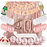 Sllyfo 40th Birthday Decorations Party Supplies Kit - 40th Birthday Gifts for Womens,40th Cake Topper|Banner|sash|Rose…
