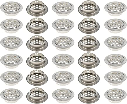 10x Stainless Steel Air Vent Louver Cover Air Fresh for Cabinet-25mm