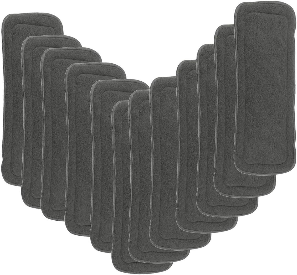 Happy Cherry Pack de 12 Insertos Absorbentes de Microfibra de 3 Capas Reutilizables para Beb/és Pa/ñales de Tela Diaper Inserts