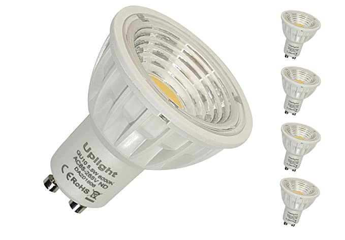 GU10 LED Bombillas Equivalente 50W-60W halógenas Blanco Frío 6000K No Regulable 5.5W RA90