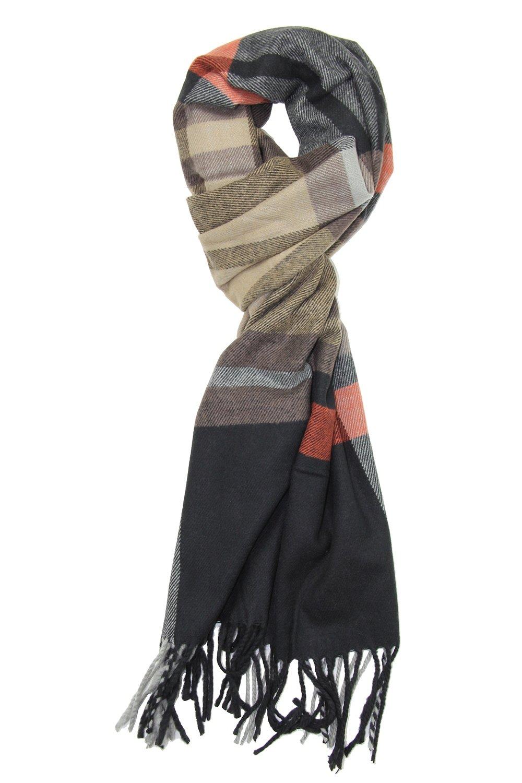 Achillea Men's Cashmere Feel Tartan Plaid Checked Winter Warm Scarf (Orange & Black Plaid)