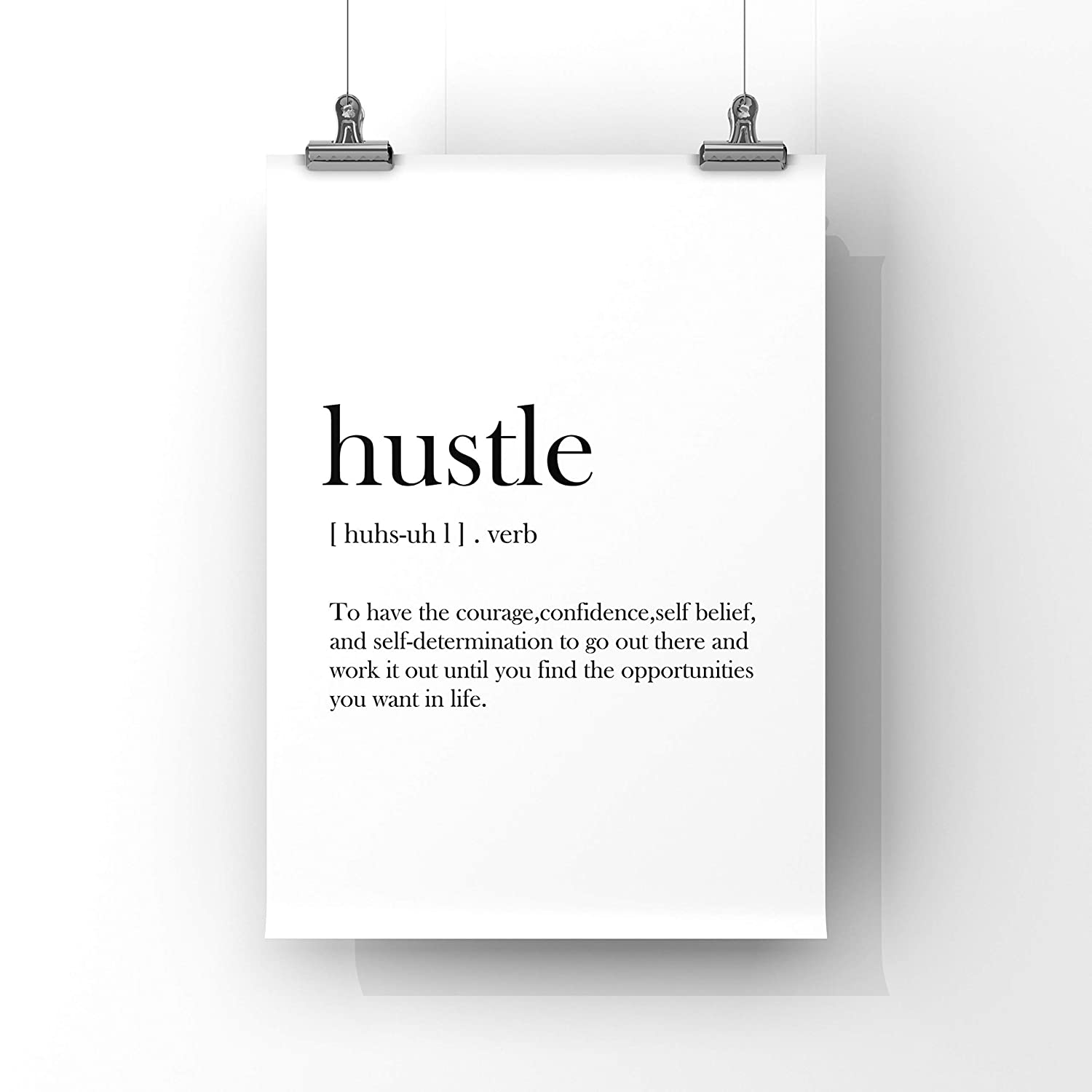 Hustle Poster,Definition Wall Art Hard Work Po Motivational Print Quote Print