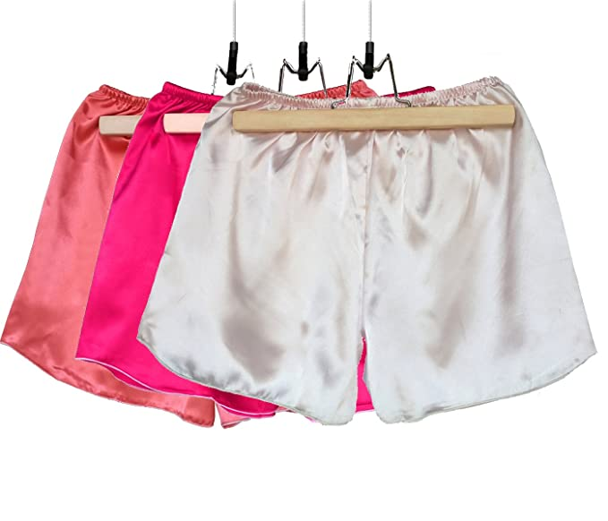 Wantschun Womens Satin Shorts Boxer Knickers Pants Pink+Dark  Pink+Watermelon Red 966b552183