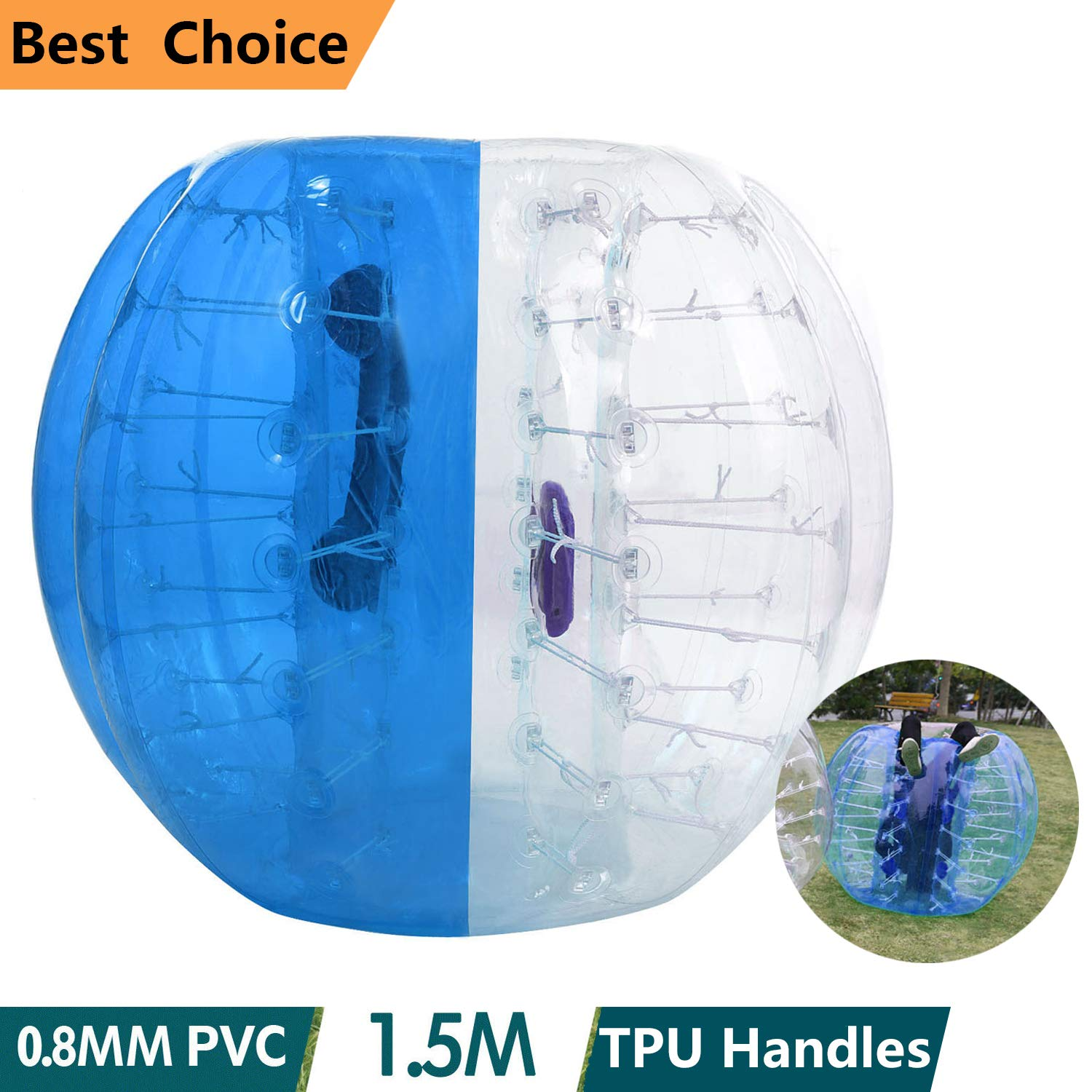 shaofu Inflatable Bumper Ball Dia 4/5 ft (1.2/1.5 m) Human Hamster Ball for Adults/Kids Eight Colors(US Stock) (Dia 5 ft/Blue)