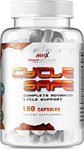 MMX Cycle Safe: On Cycle Protection | Liver Detox | Heart and Blood Pressure Support | Prostate Support with Saw Palmetto | Antioxidant Grape Seed Extract | 180 Capsules
