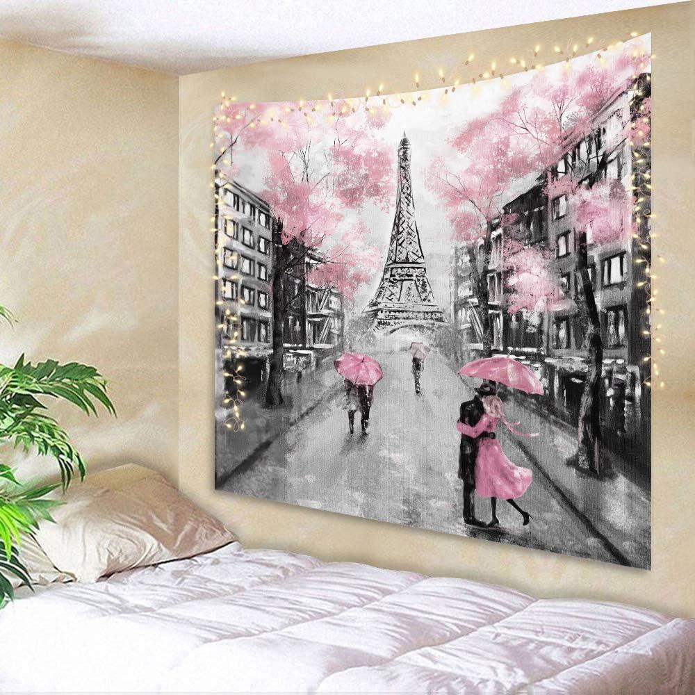 AMBZEK Eiffel TowerTapestry Paris France 51Hx59W Inch Oil Painting European City Pink Tree Lover Couple Romantic Vintage DecorFantasyFashion Art Wall Hanging Bedroom Living Room Dorm Decor Fabric