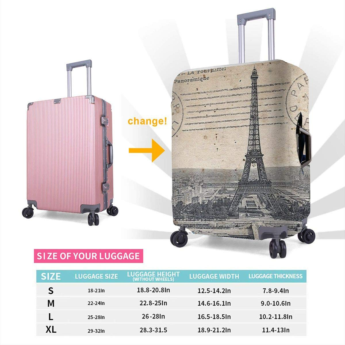 TYDhey Eiffel Tower Paris Universal Fashion Luggage Suitcase Cover Protector