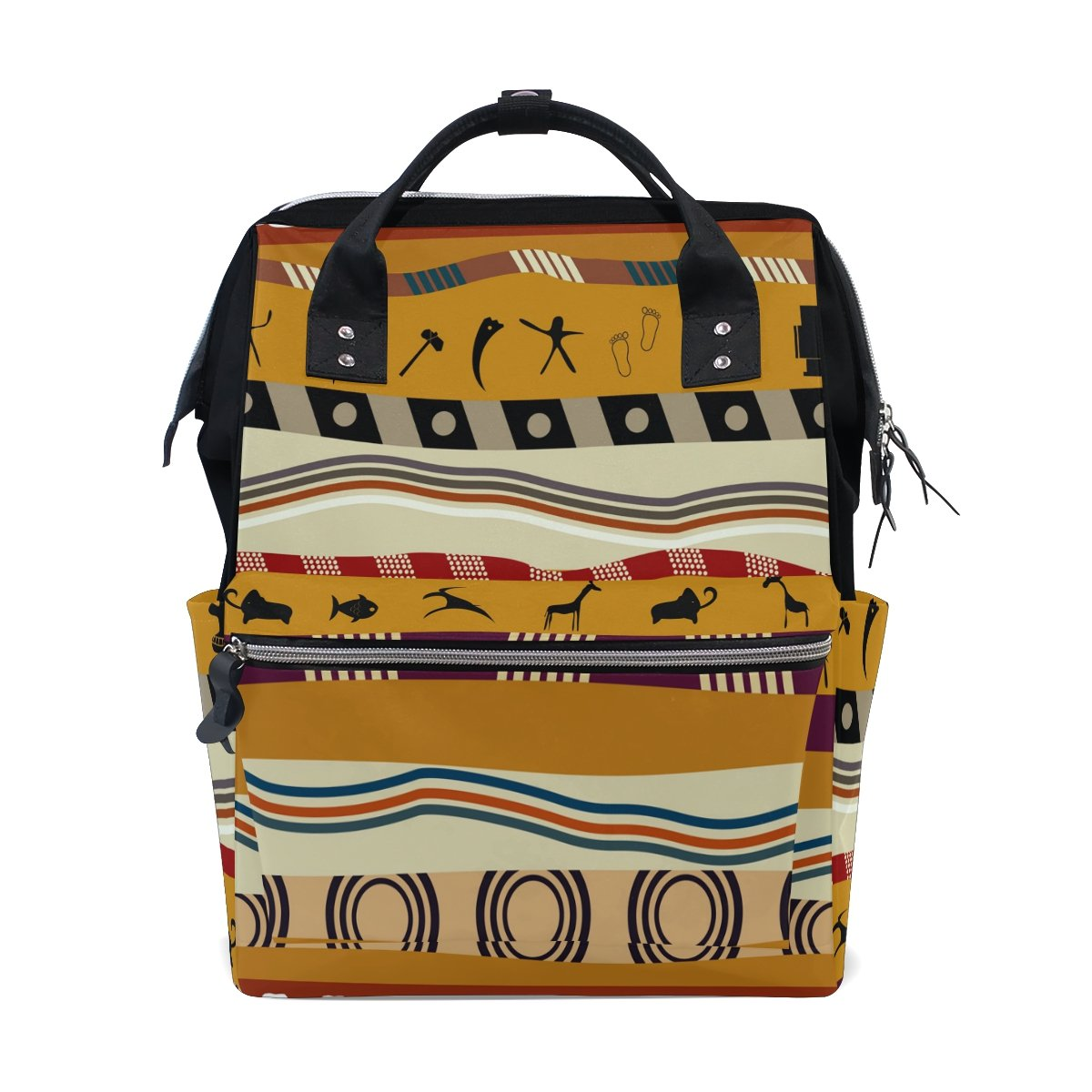 Diaper Bags Backpack Purse Mummy Backpack Fashion Mummy Maternity Nappy Bag Cool Cute Travel Backpack Laptop Backpack with African Floral Seamless Pattern Daypack for Women Girls Kids