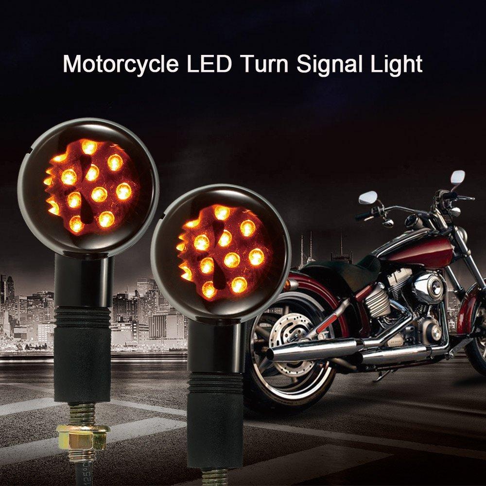 KKmoon Paire de Clignotants LED Lampe Moto pour Harley Cafe Racer Custom Universel Noir