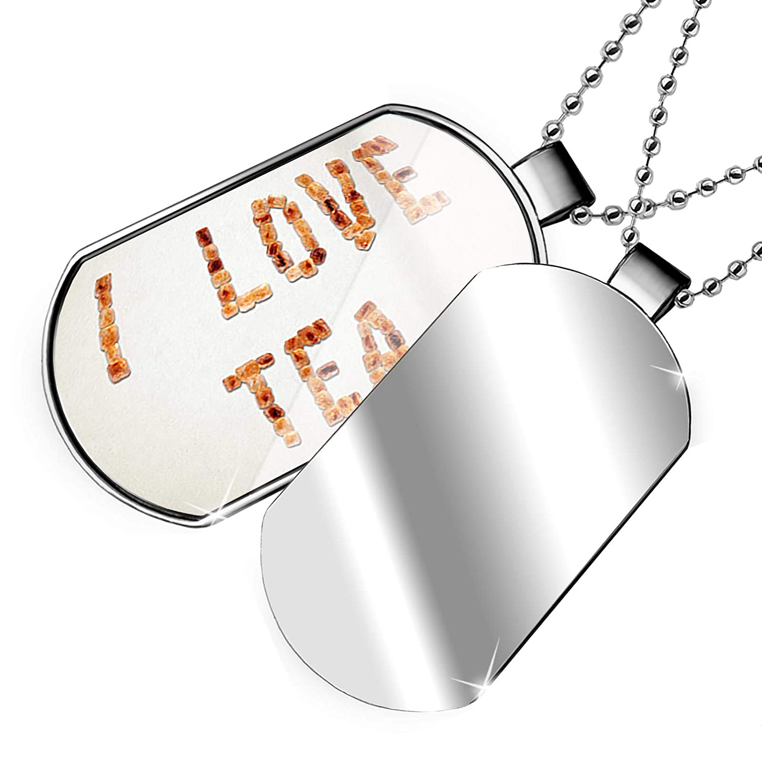 NEONBLOND Personalized Name Engraved I Love Tea Brown Sugar Tea Dogtag Necklace
