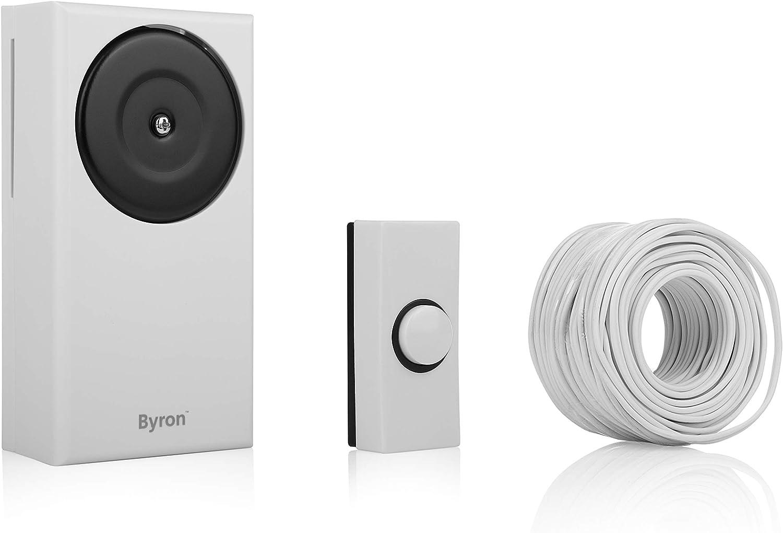 Blanco Byron BYR1217 Kit anal/ámbrico-Pulsador y Timbre de Puerta con Sonido cl/ásico 1217