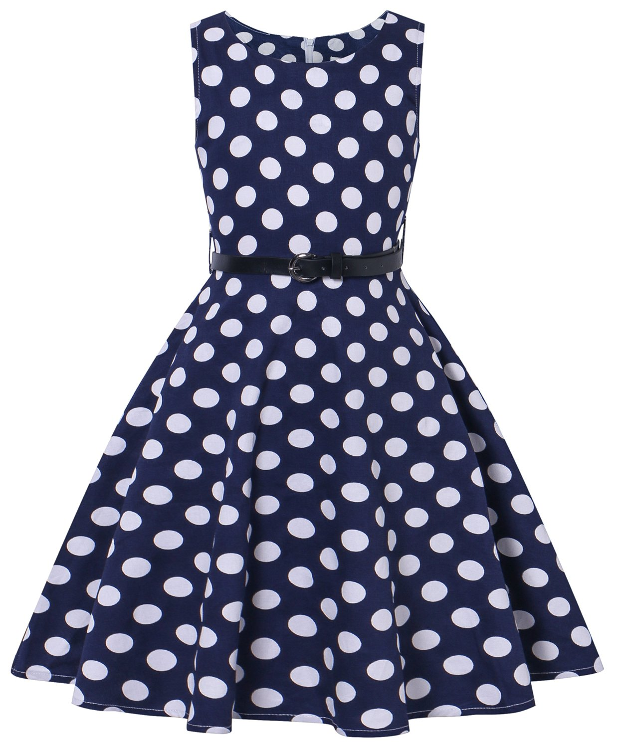 I2CRAZY Pinup 50's Vintage Floral Round Neck Casual Homecoming Dresses F03,9-10Years