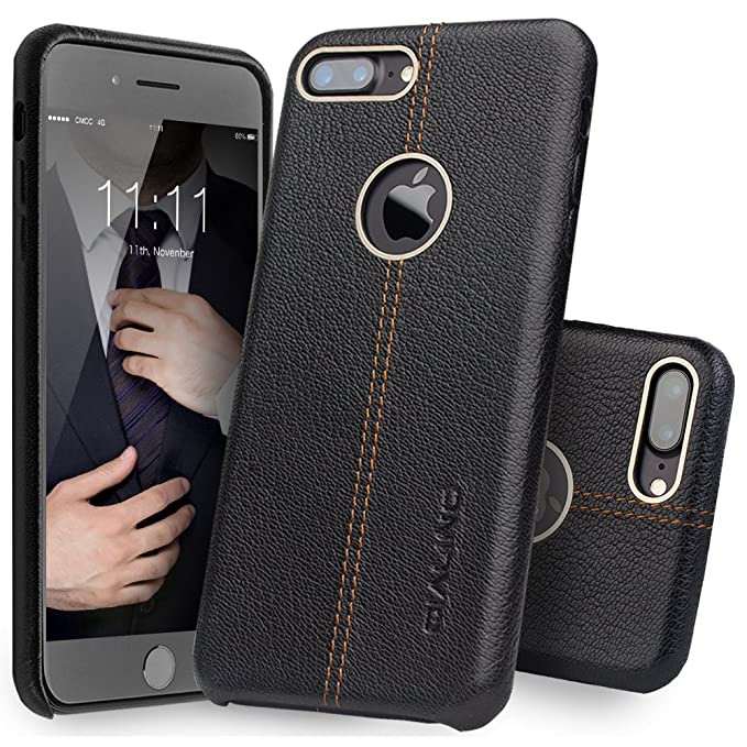 the best attitude 4331b 7230f iPhone 7 Plus Case, QIALINO Stylish Genuine Leather Back Cover Protective  Bumper Case for iPhone 7 Plus - Black