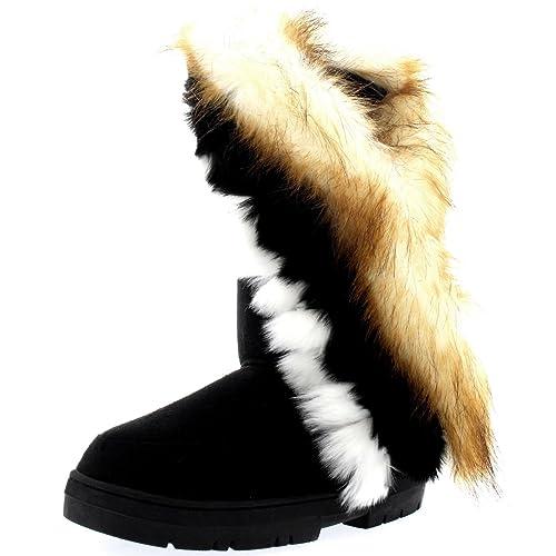 Holly Damen Tall Tassel Rabbit Pelz Gefüttert Winter Kaltes Wetter Schnee Regen Stiefel