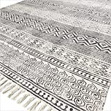 EYES OF INDIA - 4 X 6 ft BLACK WHITE BLOCK PRINT AREA ACCENT DHURRIE COTTON RUG FLAT WEAVE WOVEN