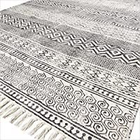 Eyes of India - 5 X 8 ft White Black Cotton Block Print Area Accent Dhurrie Rug Weave Boho Chic Indian Bohemian
