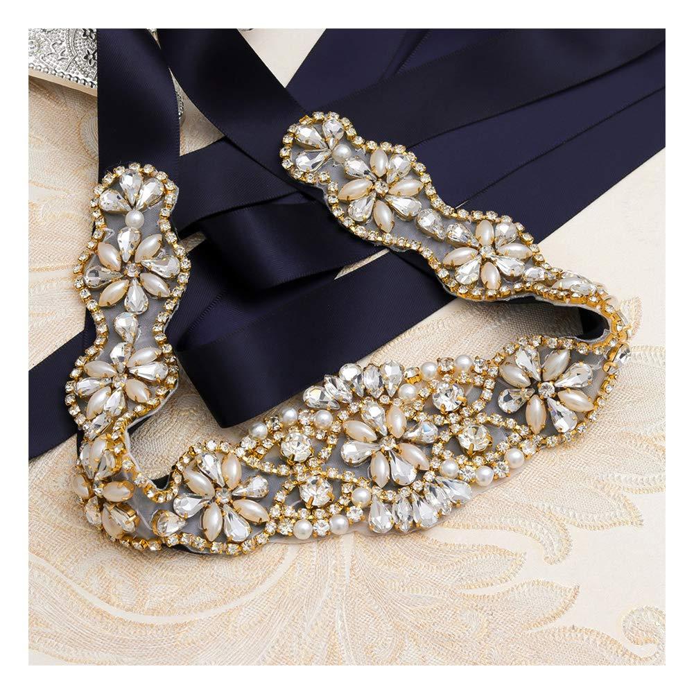 Yanstar Crystal Wedding Bridal Belt Sashes For Wedding Bridesmaid Dress