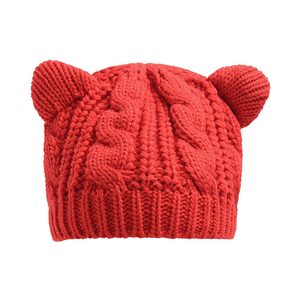 Warm Hat, Women's Winter Autumn Twist Woolen Cat Ears Beret Cap by Ocaler Cyclamen9