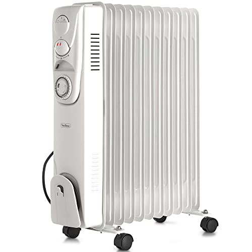 VonHaus Oil Filled Radiator 2.5KW 11 fin – Portable Electric Heater – 3 Power Settings, Adjustable Temperature, Thermal Safety Cut off & 24 Hour Timer – White 2500W