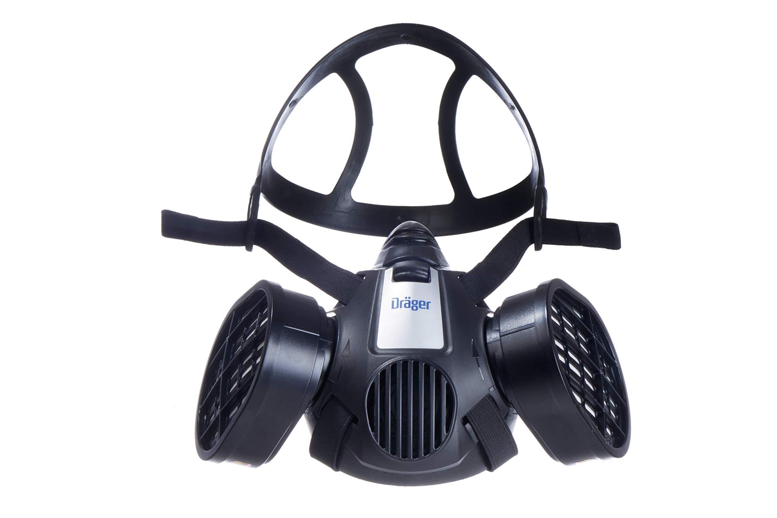 Dräger X-plore 3500 Half-Face Respirator Mask + 2x Multi-Gas Cartridge (OV/AG/HF/FM/CD/AM/MA/HS), NIOSH-Certified, Reusable Professional Respiratory Protection Kit by Dräger