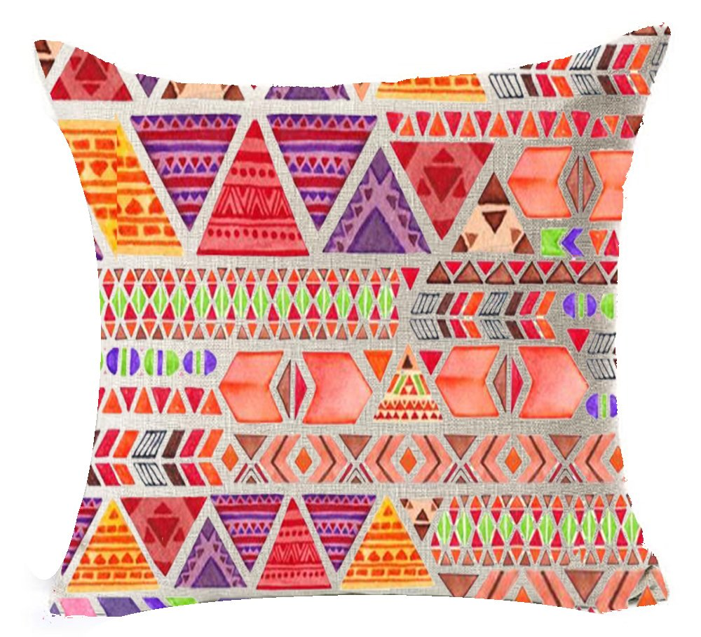 Andreannie Bohemian Style Colorful Stripes Design Boho Style Cotton Linen Throw Lumbar Pillow Case Cushion Cover Home Office Decorative Rectangle 12 X 20 Inches FBA/_andreannie-1021