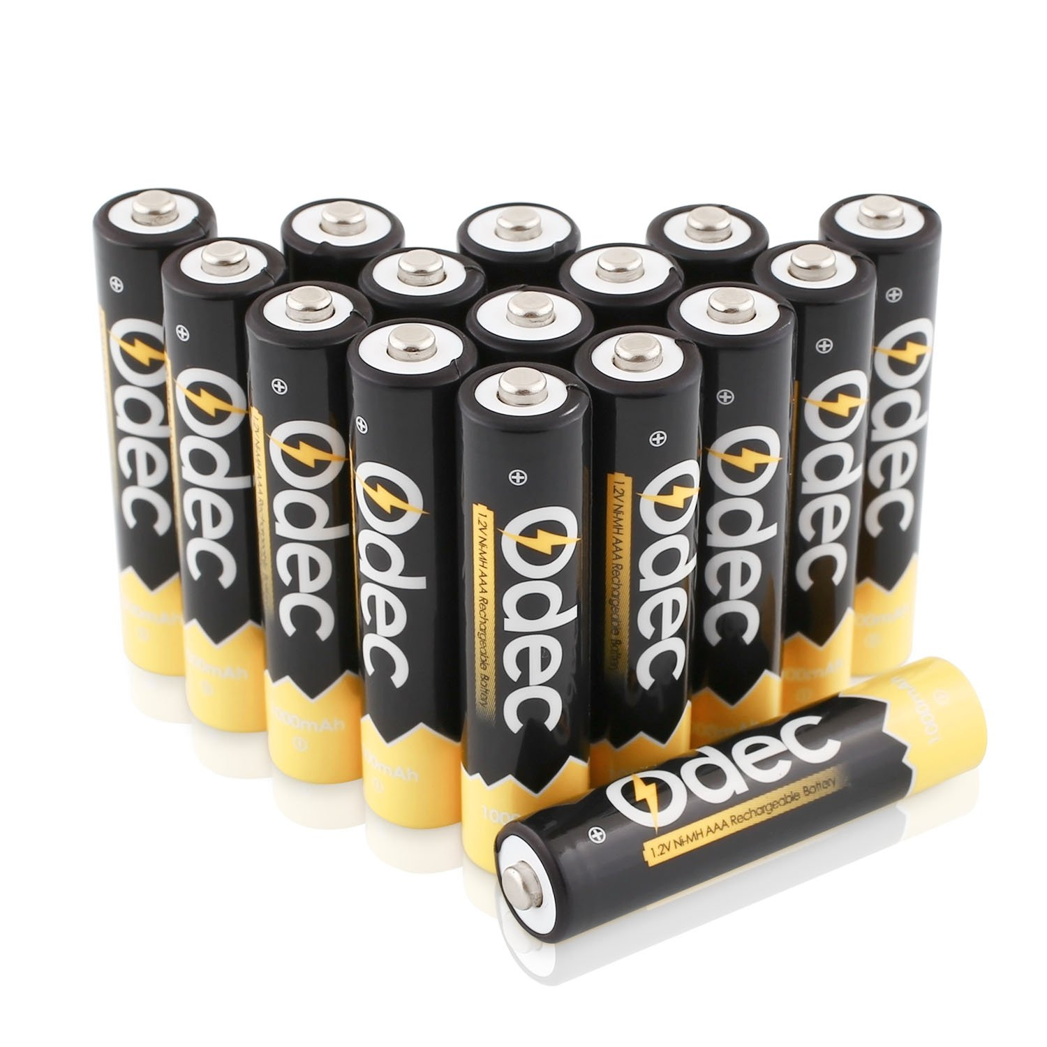 Odec AAA Rechargeable Batteries, 1000mAh NiMH Deep Cycle Battery Pack Low Self Discharge with Case- 16 Pack
